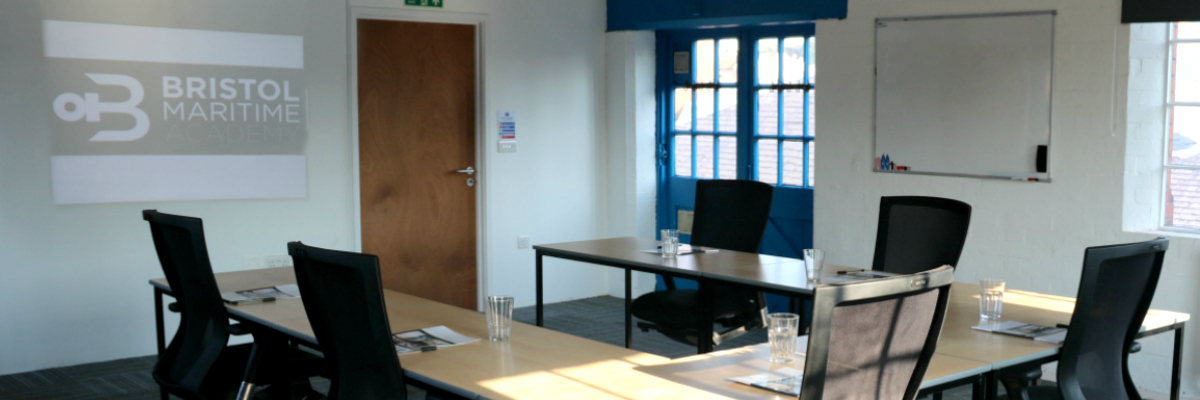 This is an image of the training room for rent at the Bristol Maritime Academy, where we offer a projector, white board and hot drink facilities for all guests in a light and airy room based in the center of Bristol